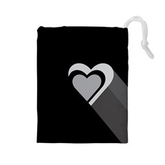 Heart Love Black And White Symbol Drawstring Pouches (large)  by Celenk
