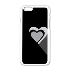 Heart Love Black And White Symbol Apple Iphone 6/6s White Enamel Case by Celenk