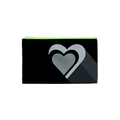 Heart Love Black And White Symbol Cosmetic Bag (xs) by Celenk