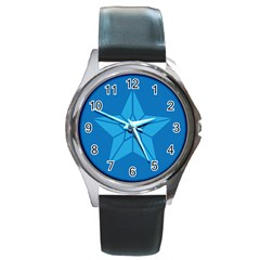 Star Design Pattern Texture Sign Round Metal Watch by Celenk