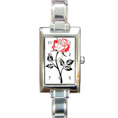 Flower Rose Contour Outlines Black Rectangle Italian Charm Watch by Celenk