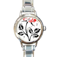 Flower Rose Contour Outlines Black Round Italian Charm Watch by Celenk
