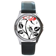 Flower Rose Contour Outlines Black Round Metal Watch by Celenk