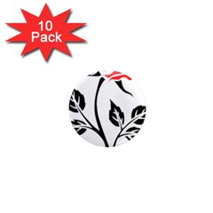 Flower Rose Contour Outlines Black 1  Mini Magnet (10 Pack)  by Celenk