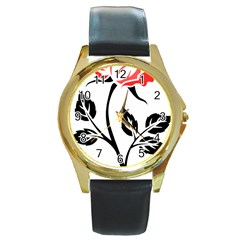 Flower Rose Contour Outlines Black Round Gold Metal Watch by Celenk