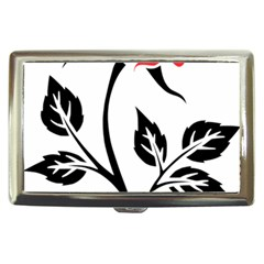 Flower Rose Contour Outlines Black Cigarette Money Cases by Celenk