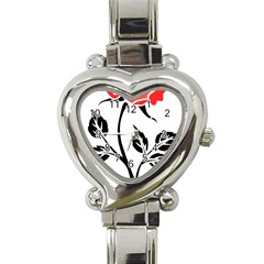 Flower Rose Contour Outlines Black Heart Italian Charm Watch by Celenk