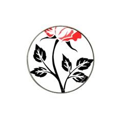 Flower Rose Contour Outlines Black Hat Clip Ball Marker (4 Pack) by Celenk