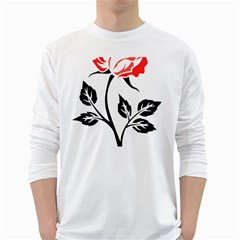 Flower Rose Contour Outlines Black White Long Sleeve T Shirts by Celenk