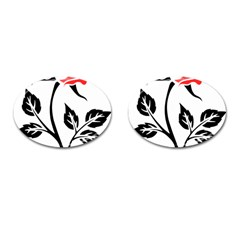 Flower Rose Contour Outlines Black Cufflinks (oval) by Celenk