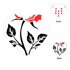 Flower Rose Contour Outlines Black Playing Cards (heart)  by Celenk