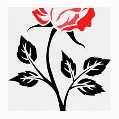 Flower Rose Contour Outlines Black Medium Glasses Cloth (2 Side) by Celenk