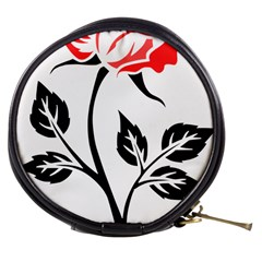 Flower Rose Contour Outlines Black Mini Makeup Bags by Celenk