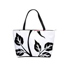 Flower Rose Contour Outlines Black Shoulder Handbags by Celenk