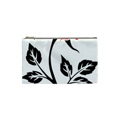 Flower Rose Contour Outlines Black Cosmetic Bag (small)  by Celenk