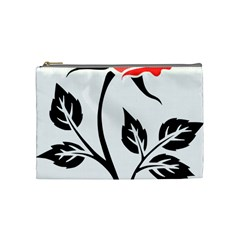 Flower Rose Contour Outlines Black Cosmetic Bag (medium)  by Celenk