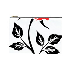 Flower Rose Contour Outlines Black Cosmetic Bag (large)  by Celenk