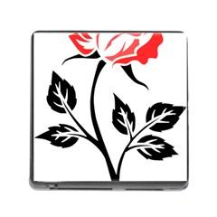 Flower Rose Contour Outlines Black Memory Card Reader (square) by Celenk