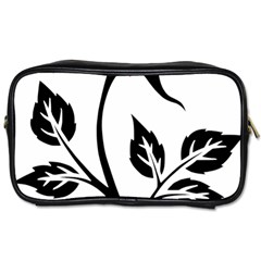 Flower Rose Contour Outlines Black Toiletries Bags 2 Side by Celenk