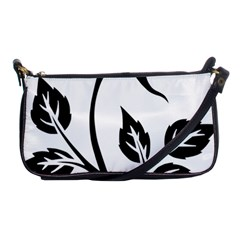Flower Rose Contour Outlines Black Shoulder Clutch Bags by Celenk