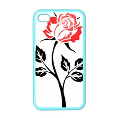 Flower Rose Contour Outlines Black Apple Iphone 4 Case (color) by Celenk