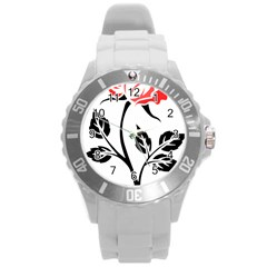 Flower Rose Contour Outlines Black Round Plastic Sport Watch (l) by Celenk