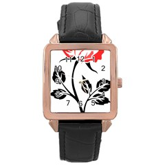 Flower Rose Contour Outlines Black Rose Gold Leather Watch  by Celenk
