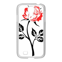 Flower Rose Contour Outlines Black Samsung Galaxy S4 I9500/ I9505 Case (white) by Celenk