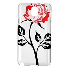 Flower Rose Contour Outlines Black Samsung Galaxy Note 3 N9005 Hardshell Case by Celenk