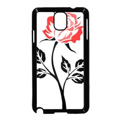 Flower Rose Contour Outlines Black Samsung Galaxy Note 3 Neo Hardshell Case (black) by Celenk