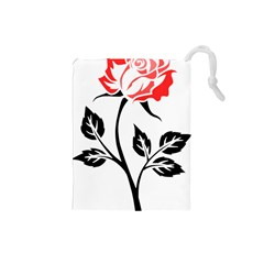 Flower Rose Contour Outlines Black Drawstring Pouches (small)  by Celenk