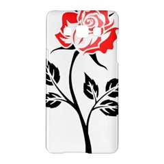 Flower Rose Contour Outlines Black Samsung Galaxy A5 Hardshell Case  by Celenk