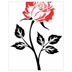 Flower Rose Contour Outlines Black Drawstring Bag (small) by Celenk