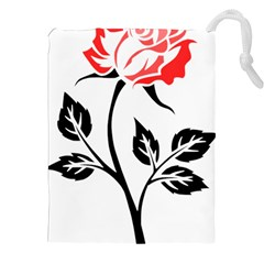 Flower Rose Contour Outlines Black Drawstring Pouches (xxl) by Celenk