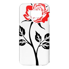 Flower Rose Contour Outlines Black Samsung Galaxy S7 Edge Hardshell Case by Celenk