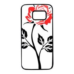 Flower Rose Contour Outlines Black Samsung Galaxy S7 Black Seamless Case by Celenk