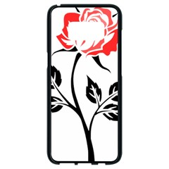 Flower Rose Contour Outlines Black Samsung Galaxy S8 Black Seamless Case by Celenk
