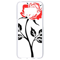 Flower Rose Contour Outlines Black Samsung Galaxy S8 White Seamless Case by Celenk