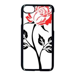 Flower Rose Contour Outlines Black Apple Iphone 8 Seamless Case (black) by Celenk