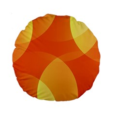 Abstract Orange Yellow Red Color Standard 15  Premium Round Cushions by Celenk