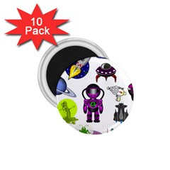 Space Clip Art Aliens Space Craft 1 75  Magnets (10 Pack)  by Celenk