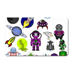 Space Clip Art Aliens Space Craft Magnet (rectangular) by Celenk