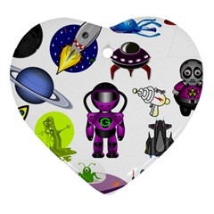 Space Clip Art Aliens Space Craft Heart Ornament (two Sides) by Celenk