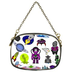 Space Clip Art Aliens Space Craft Chain Purses (one Side)  by Celenk