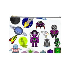Space Clip Art Aliens Space Craft Cosmetic Bag (large)  by Celenk