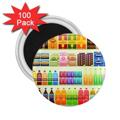 Supermarket Shelf Products Snacks 2 25  Magnets (100 Pack)  by Celenk