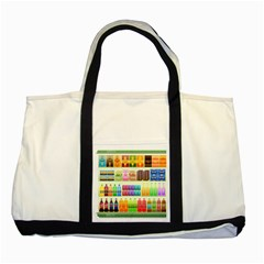 Supermarket Shelf Products Snacks Two Tone Tote Bag by Celenk