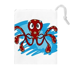 Octopus Sea Ocean Cartoon Animal Drawstring Pouches (extra Large) by Celenk