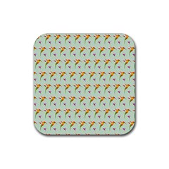Birds Hummingbirds Wings Rubber Square Coaster (4 Pack)  by Celenk