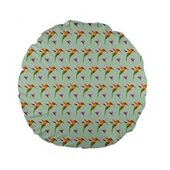 Birds Hummingbirds Wings Standard 15  Premium Round Cushions by Celenk